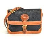Vintage Dooney Navy Blue AWL Medium Crossbody Bag (All Weather Leather)
