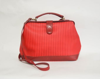 Vintage Red Crossbody Satchel - Chic Striped Canvas & Leather Bag