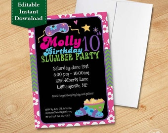 Slumber Party Invitation Template, Kids Birthday Invitations, Birthday Invitations for Kids,  Birthday Party Invitations for Kids