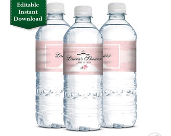 Bridal Shower Water Bottle Labels, Wedding Shower, Bridal Shower Printable Personalized