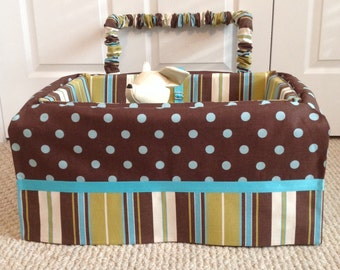 Dog Car Seat - LARGE ***Ready Made turquoise, brown - Dot, Stripe *** by FancyFido