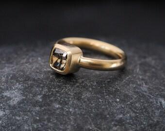 Chocolate Diamond Ring - Solitaire Diamond Ring - Gold Diamond Engagement Ring -  Size 5.25 Diamond Ring - Ready to Ship - Free Shipping -