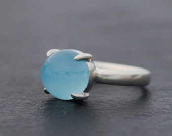 Blue Gemstone Ring - Chalcedony Ring - Blue Cabochon Ring - Big Blue Gem Ring - Size 5.75 - Deep Blue Gemstone Solitaire Ring Silver -