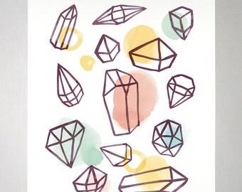 Bejeweled - Art Print of watercolor painting