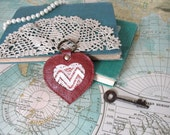 Sweet Valentine No. 2 // Leather key chain // Chevron // Purse charm // Luggage tag // Bridesmaid gift // Valentines gift // Ready to ship