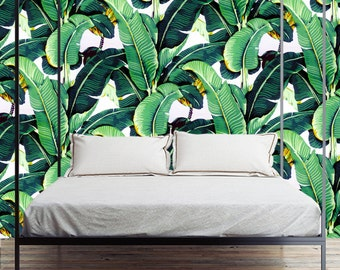 Removable Wallpaper- Golden Girls Banana Leaf- Peel & Stick Self Adhesive Fabric Temporary Wallpaper-Repositionable-Reusable- FAST. EASY.