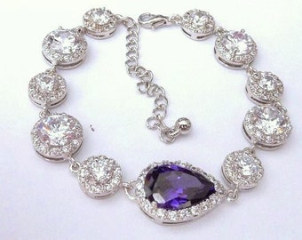 Bridal Bracelet - Big and Medium Halo Round Cubic Zirconia with Purple Amethyst Peardrop CZ Centre Piece Gems White Gold Plated Bracelet