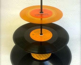 3 tier Vinyl Record Cupcake Stand Retro Cake Stand Orange