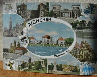 3 Souvenir German Postcards - 45 rpm Postcard -  GEMA Singing Postcards - Munchen - Glockenspiel - Ansichtskarte - Hofbrauhaus - Collectible