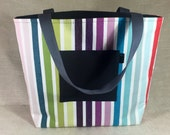 Reversible Tote Bag Rainbow Stripe Print with grey linen