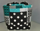 Girls Scripture Bag  Tote  Bible  Turquoise with black and white polka dots