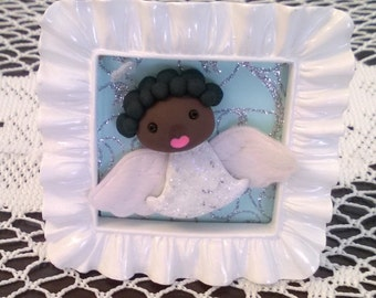 Black Singing Angel in a Frame Polymer Clay Ooak Figurine Decoration Gift White Christmas Home Decor African American