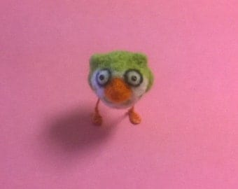 Needle Felted Green Owl Bird Animal Figurine Soft Sculpt Ooak Doll Miniature Cute Small Easter Egg Gift