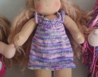 "Waldorf Doll Dress 12-13""  Purple Skirty Skirtall Jumper Dress For Bamboletta Cuddle Doll or similar size"