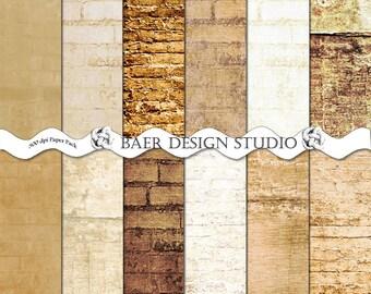 Brown Brick Digital Paper, White Brick Digital Paper, Brick Photo Background Paper, Brick Digital Wallpaper, Junk Journal Digital Paper