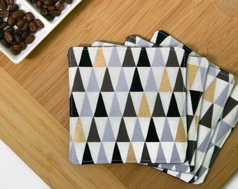 Fabric Coasters Geometric Triangle Print - Set of 4 Cloth Coasters Minimal Home Decor - Gold, Black, Grey, White