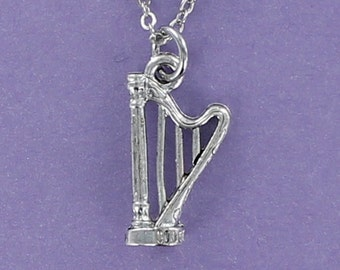 HARP NECKLACE - Pewter Charm on a FREE Plated Chain String Instrument Pedal Celtic