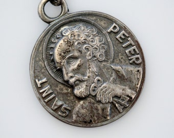 Vintage Sterling Saint Peter Medal - Papal Insignia St Peter with Keys of Heaven - Religious Devotional Medallion
