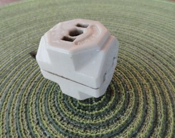 B008)  Antique Porcelain Multi Adapter outlet