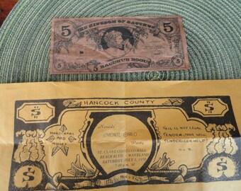 B047)  Vintage Mardi Gras Paper Money 1970s