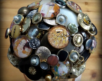 Klimt inspired button bouquet. Small posy.