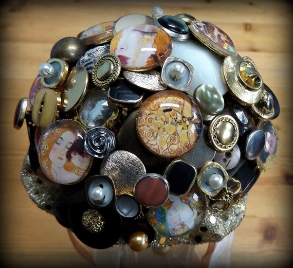 SALE Reduced!! Klimt inspired button bouquet. Small posy.