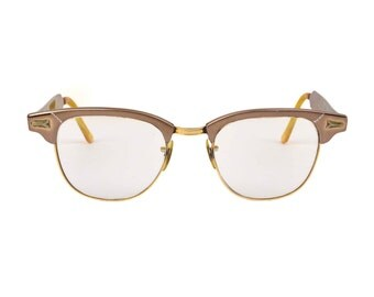 Vintage SRO Aluminum Horn Rim & 12k G.F. Frames // Mid-Century Bronze Two Tone Eye Glasses