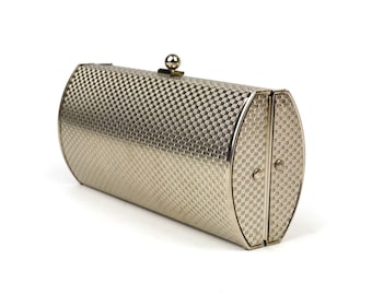 Vintage Silver Metal Box Purse // Shiny Embossed Basketweave Metal // Hard Case Convertible Clamshell Clutch Handbag with Snake Chain Handle