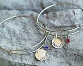 Blonde and Brunette Bracelet - Best Friend Bracelets - Sisters Bracelets - Custom Charm Bracelets - Personalized Jewelry