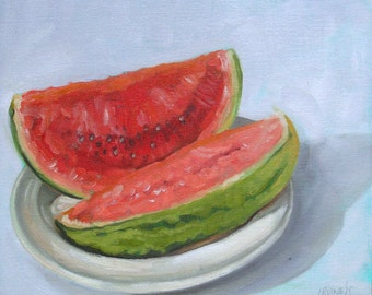 "Original oil on board daily painting still life watermelon oil painting sketch 10"" x 12"" by H Irvine"