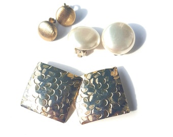Vintage Set of Three Clip on Earring Pairs - Gold and Pearl