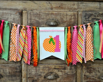 Fall pink pumpkin first birthday party decor, highchair fabric rag banner garland/I am 1 one photo prop/ Autumn orange pink green decoration