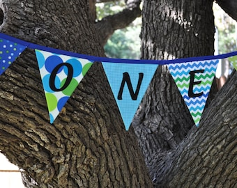 Boys blue and green ONE fabric pennant banner bunting, Cake smash photo prop, boys first/1st birthday party decor, flag garland, I am 1