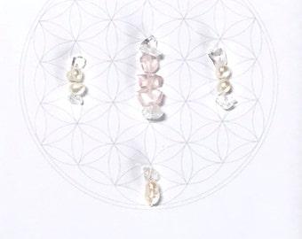 TRUE LOVE  --- framed sacred crystal grid --- clear quartz, pearl, rose quartz
