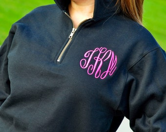 Monogrammed Pullover, Zip Pullover Monogrammed, Personalized Sweatshirt, Quarter Zip Pullover Monogrammed, Monogram Pullover, Embroidered