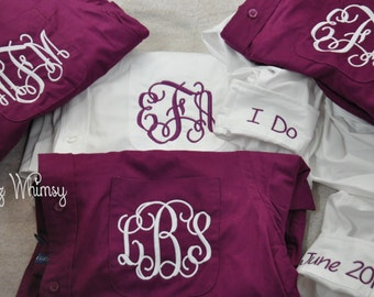 Bridal Party Shirts, Wedding Day Shirts, 4 Bridesmaid Gifts, Button Down Shirt, Monogrammed Oxford, I Do, Getting Ready