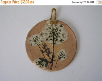 SUMMER SALE Small Decorative Dandelion Pottery Plaque or Wall Hanging