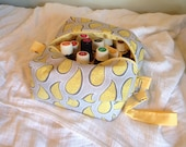 Yellow and gray paisley essential oil bag, handmade.  Holds 20 bottles (for 5ml and 10ml bottles)