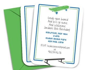 Personalized Skateboard Party Invitiations Skateboard Birthday Invitation Digital File Printable Skate Board Invitation Skater Party Invite