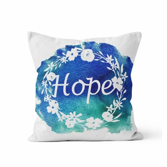Hope Decorative Pillow : Pillow COVER HOPE Floral Wreath Pillow Throw Pillow COVER