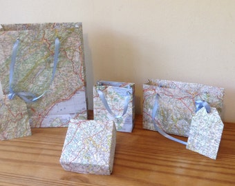 Recycled map gift bags and box.
