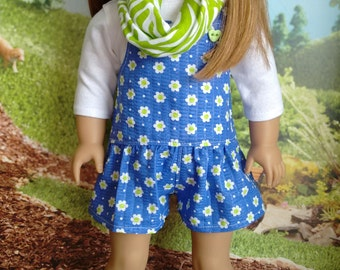 Seersucker Floral Romper, White Tee with 3/4 Length Sleeves, Infinity Scarf for 18 Inch Dolls such as American Girl