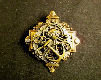 Steampunk Octopus Pin