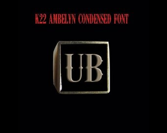 Solid Bronze UB Initial Ring - Free Re-Size/Shipping