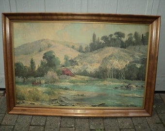 "Vintage Bennett Bradbury Lithographic Print titled ""Sunny Cove"" framed in a solid maple wood frame with an etched brass nameplate, Sofa Size"