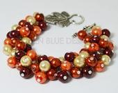 Pearl Bracelet, Orange, Champagne, and Red, Cluster Bracelet, Chunky Bracelet, Pearl Cluster Bracelet, Fall Wedding Jewelry, Autumn Bracelet