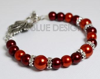 Red and Burnt Orange Pearl Bracelet, Red Pearl Bracelet, Red and Orange Bridesmaid Jewelry, Fall Pearl Jewelry, Autumn Pearl Jewelry, Fall