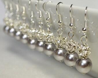 Pearl and Rhinestone Earrings, Gray Pearl Earrings, Bridal Earrings, Wedding Jewelry, Grey Earrings, Gray Earrings, Silver Pearl Earrings