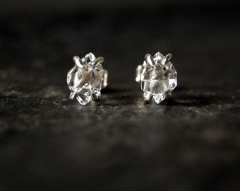 Little Herkimer Diamond Prong Studs in Polished Sterling Silver
