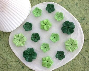 14 Handcrafted Flowers, Multi Colored Mountain Jade Flowers, Semi Precious Stone Flowers, Light & Dark Green Flowers, Flower Beads SP-222-48